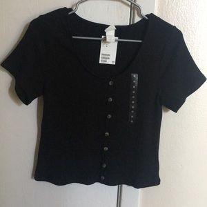 H&M Ribbed Style Black Short-Sleeved Shirt
